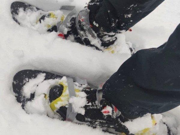 Le ciaspole in neve farinosa, buon galleggiamento